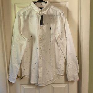 Polo Ralph Lauren White Blue Paint Splatter Shirt